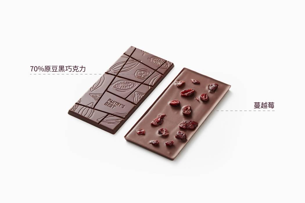 原豆黑巧克力62%排块蔓越莓味