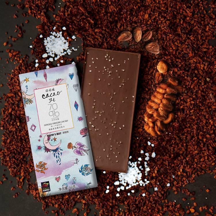 CACAOH原豆黑巧克力70%排块海盐味