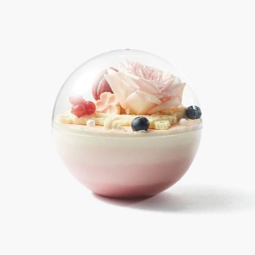 Raspberry red velvet crystal ball cake
