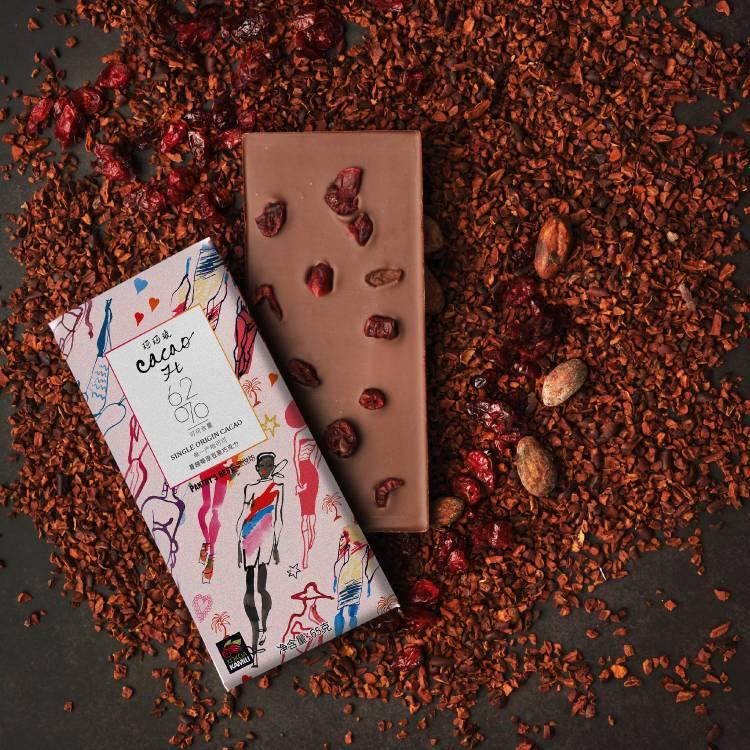Kesshō 原豆黑巧克力62%排块蔓越莓味